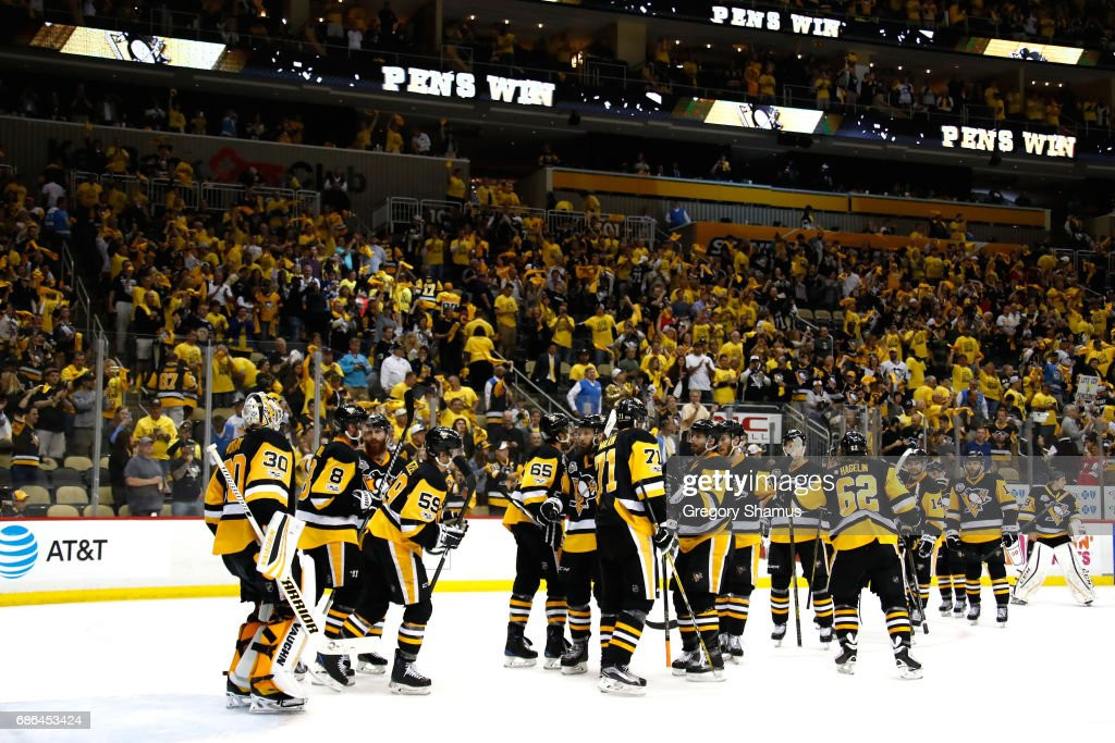 Matt Murray #30 of the Pittsburgh Penguins celebrates with his teammates after defeating the Ottawa Senators with a score of 7 to 0 in Game Five of the Eastern Conference Final during the 2017 NHL Stanley Cup Playoffs at PPG PAINTS Arena on May 21, 2017 in Pittsburgh, Pennsylvania.