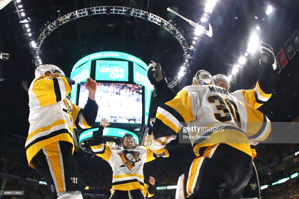 Matt Murray #30 of the Pittsburgh Penguins celebrates with teammates after they defeated the Nashville Predators 2-0 to win the 2017 NHL Stanley Cup Final at the Bridgestone Arena on June 11, 2017 in Nashville, Tennessee.