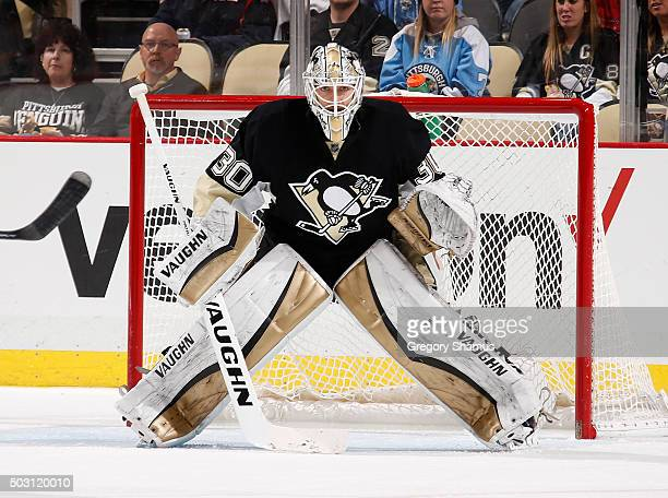 Matt Murray of the Pittsburgh Penguins defends the net against the Carolina Hurricanes at Consol Energy Center on December 19 2015 in Pittsburgh...