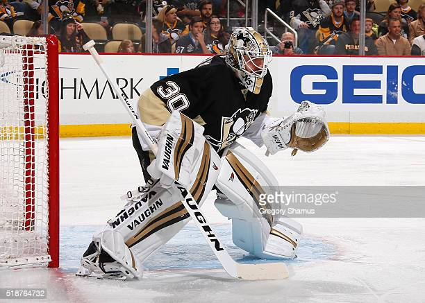 Matt Murray of the Pittsburgh Penguins defends the net against the Buffalo Sabres at Consol Energy Center on March 29 2016 in Pittsburgh Pennsylvania