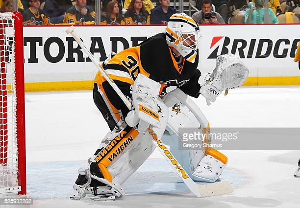 Matt Murray of the Pittsburgh Penguins defends the net against the New York Rangers in Game Five of the Eastern Conference First Round during the...