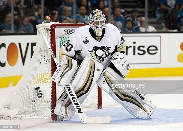 Matt Murray of the Pittsburgh Penguins defends the net against the San Jose Sharks during Game Three of the 2016 NHL Stanley Cup Final at SAP Center...