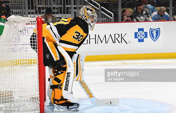 Matt Murray of the Pittsburgh Penguins defends the net against the Edmonton Oilers at PPG Paints Arena on November 8 2016 in Pittsburgh Pennsylvania