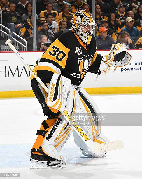 Matt Murray of the Pittsburgh Penguins defends the net against the New Jersey Devils at PPG Paints Arena on November 26 2016 in Pittsburgh...