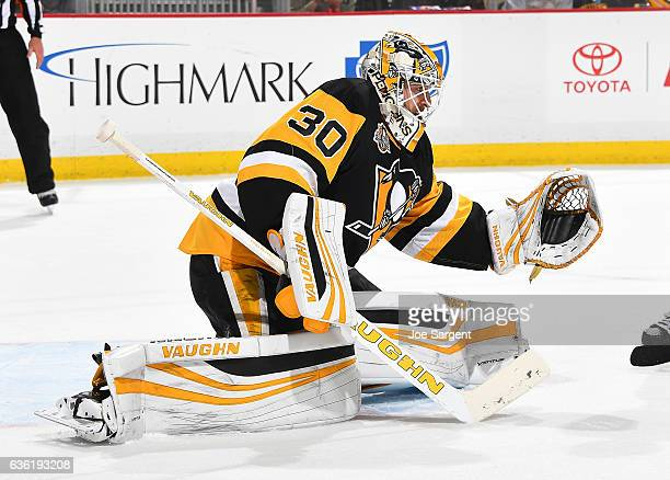Matt Murray of the Pittsburgh Penguins defends the net against the Boston Bruins at PPG Paints Arena on December 14 2016 in Pittsburgh Pennsylvania
