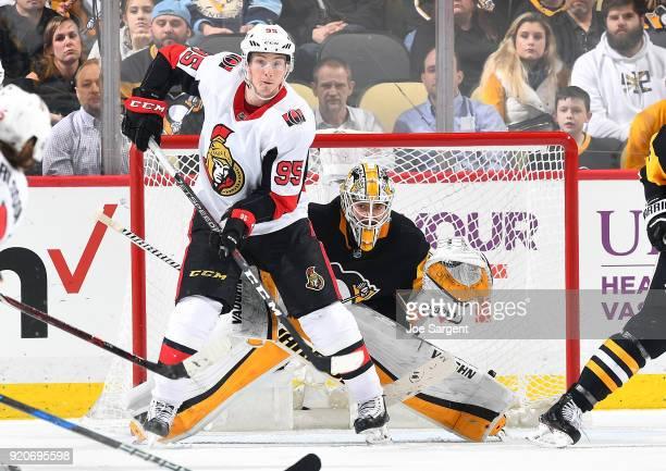 Matt Murray of the Pittsburgh Penguins defends the net in front of Matt Duchene of the Ottawa Senators at PPG Paints Arena on February 13 2018 in...