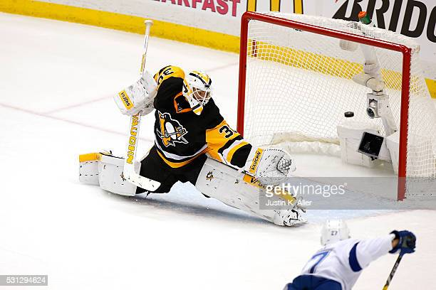 Matt Murray of the Pittsburgh Penguins gives up a goal to Jonathan Drouin of the Tampa Bay Lightning during the second period in Game One of the...
