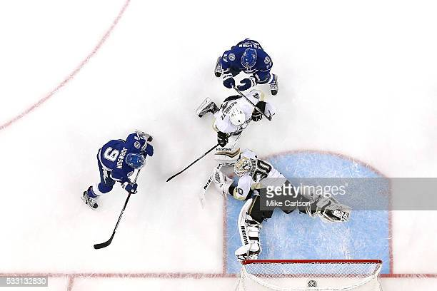 Matt Murray of the Pittsburgh Penguins gives up a goal to Tyler Johnson of the Tampa Bay Lightning during the second period in Game Four of the...