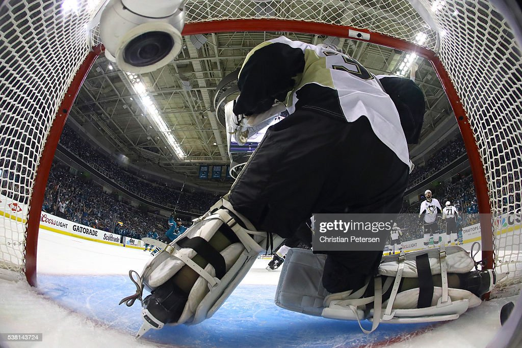Matt Murray #30 of the Pittsburgh Penguins gives up the game winning goal in overtime by Joonas Donskoi #27 of the San Jose Sharks in Game Three of the 2016 NHL Stanley Cup Final at SAP Center on June 4, 2016 in San Jose, California.