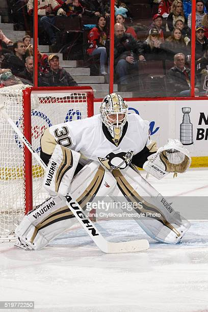 Matt Murray of the Pittsburgh Penguins guards his net against the Ottawa Senators at Canadian Tire Centre on April 5 2016 in Ottawa Ontario Canada