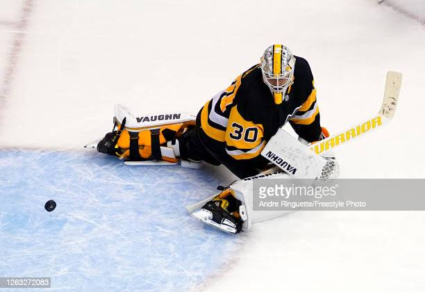 Matt Murray of the Pittsburgh Penguins is unable to stop a shot from Jeff Petry of the Montreal Canadiens to end Game One of the Eastern Conference...