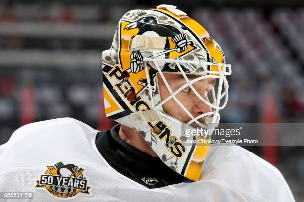 Matt Murray of the Pittsburgh Penguins looks on prior to Game Four of the Eastern Conference Final against the Ottawa Senators during the 2017 NHL...