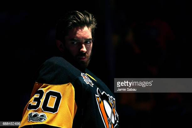 Matt Murray of the Pittsburgh Penguins looks on prior to Game Seven of the Eastern Conference Final against the Ottawa Senators during the 2017 NHL...
