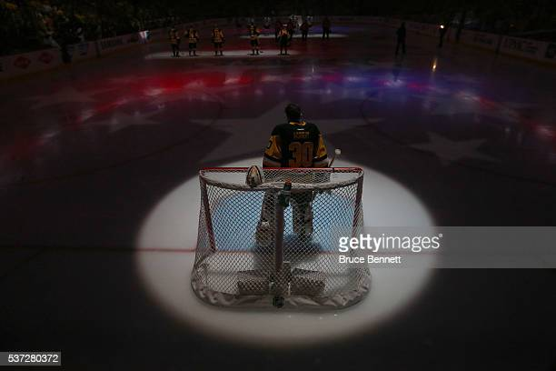 Matt Murray of the Pittsburgh Penguins lools on prior to Game Two of the 2016 NHL Stanley Cup Final against the San Jose Sharks at Consol Energy...