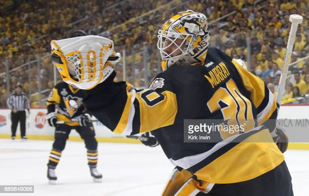 Matt Murray of the Pittsburgh Penguins makes a glove save on a shot during the first period in Game One of the 2017 NHL Stanley Cup Final against the...