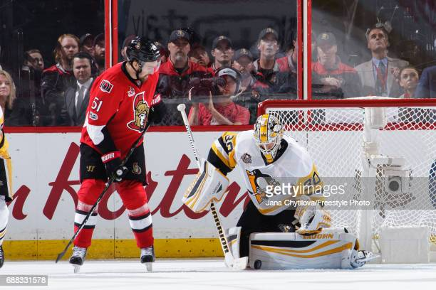 Matt Murray of the Pittsburgh Penguins makes a pad save against Mark Stone of the Ottawa Senators in Game Six of the Eastern Conference Final during...