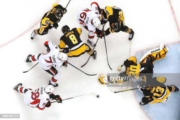 Matt Murray of the Pittsburgh Penguins makes a save against the Ottawa Senators during the third period in Game Five of the Eastern Conference Final...