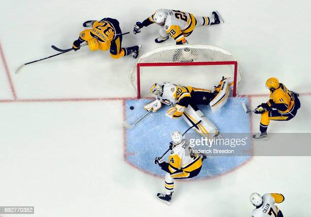 Matt Murray of the Pittsburgh Penguins makes a save against the Nashville Predators during the second period in Game Four of the 2017 NHL Stanley Cup...