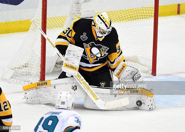 Matt Murray of the Pittsburgh Penguins makes a save during the second period against the San Jose Sharks during Game Five of the 2016 NHL Stanley Cup...