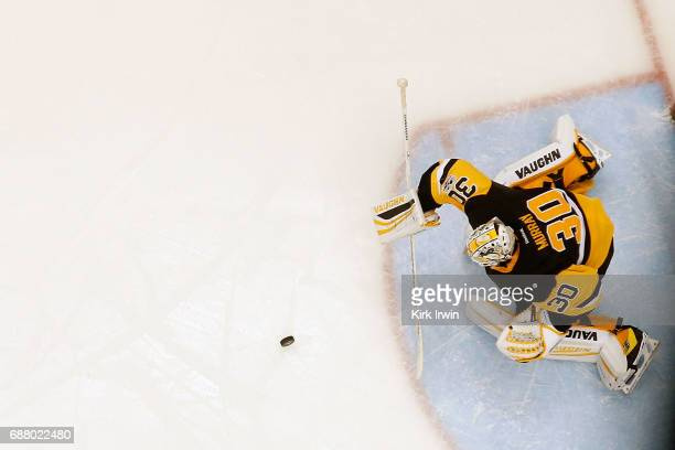 Matt Murray of the Pittsburgh Penguins makes a save in Game Five of the Eastern Conference Final during the 2017 NHL Stanley Cup Playoffs against the...