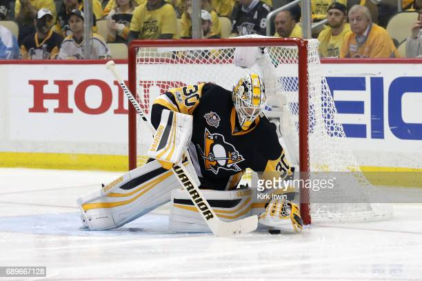 Matt Murray of the Pittsburgh Penguins makes a save in Game Seven of the Eastern Conference Final during the 2017 NHL Stanley Cup Playoffs against...