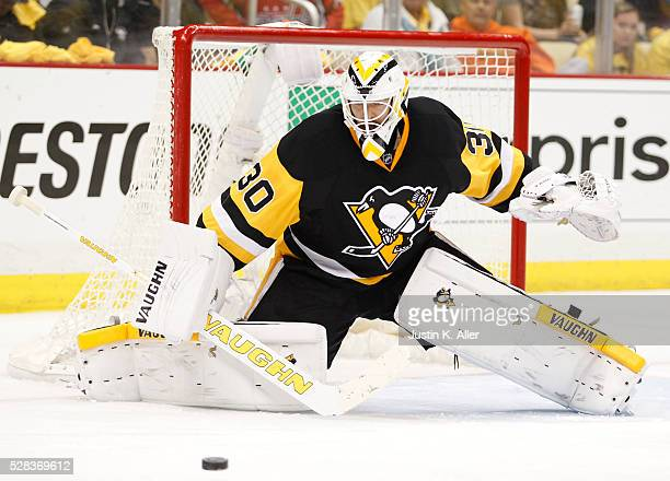 Matt Murray of the Pittsburgh Penguins makes a save in the third period against the Washington Capitals in Game Four of the Eastern Conference Second...