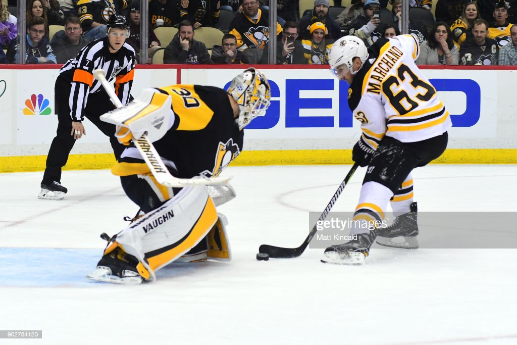 Matt Murray #30 of the Pittsburgh Penguins makes a save on a penalty shot by Brad Marchand #63 of the Boston Bruins at PPG PAINTS Arena on January 7, 2018 in Pittsburgh, Pennsylvania.