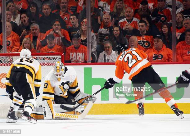 Matt Murray of the Pittsburgh Penguins makes the first period save on Scott Laughton of the Philadelphia Flyers in Game Three of the Eastern...