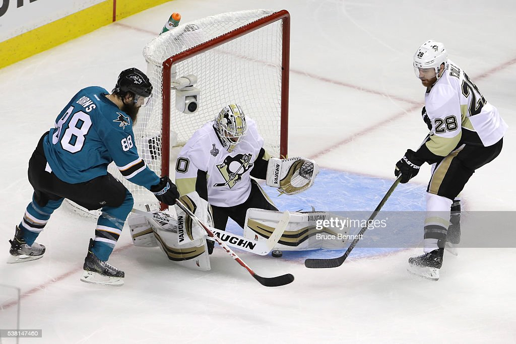 Matt Murray #30 of the Pittsburgh Penguins makes the save on Brent Burns #88 of the San Jose Sharks in Game Three of the 2016 NHL Stanley Cup Final at SAP Center on June 4, 2016 in San Jose, California. The Sharks defeated the Penguins 3-2 in overtime.