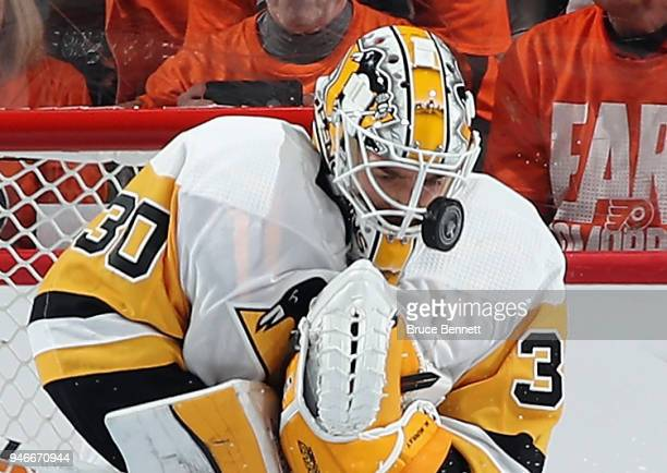 Matt Murray of the Pittsburgh Penguins makes the third period save on Jakub Voracek of the Philadelphia Flyers in Game Three of the Eastern...
