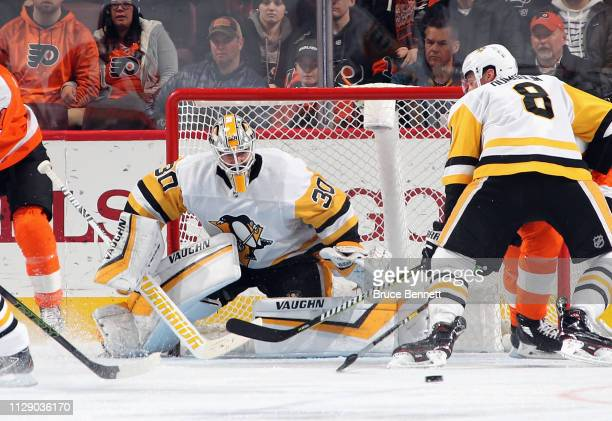 Matt Murray of the Pittsburgh Penguins makes the third period save against the Philadelphia Flyers at the Wells Fargo Center on February 11 2019 in...