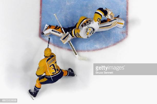 Matt Murray of the Pittsburgh Penguins makes the toe save on Frederick Gaudreau of the Nashville Predators at the Bridgestone Arena on June 3 2017 in...