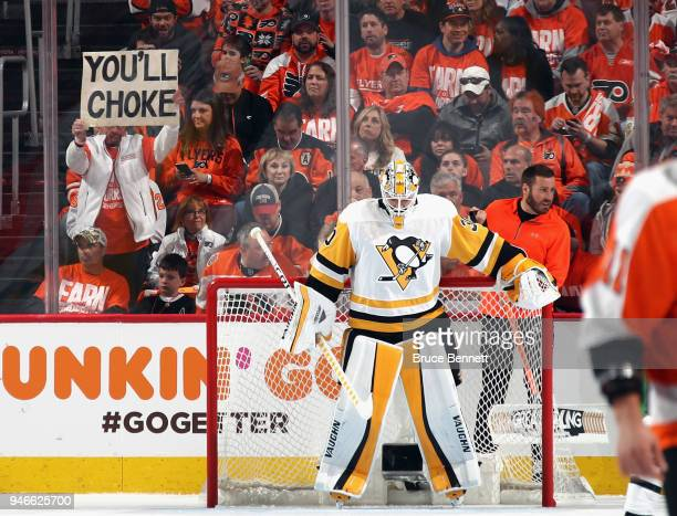 Matt Murray of the Pittsburgh Penguins pauses during a first period TV timeout against the Philadelphia Flyers in Game Three of the Eastern...