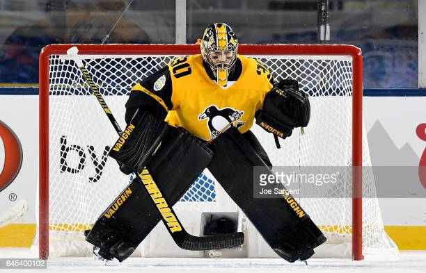 Matt Murray of the Pittsburgh Penguins protects the net against the Philadelphia Flyers during the 2017 Coors Light NHL Stadium Series at Heinz Field...