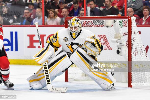 Matt Murray of the Pittsburgh Penguins remains focused against the Ottawa Senators in Game Three of the Eastern Conference Final during the 2017 NHL...