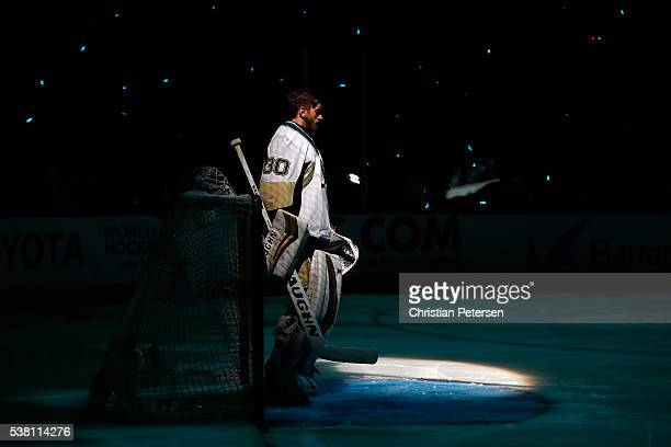 Matt Murray of the Pittsburgh Penguins stands in goal prior to Game Three of the 2016 NHL Stanley Cup Final against the San Jose Sharks at SAP Center...