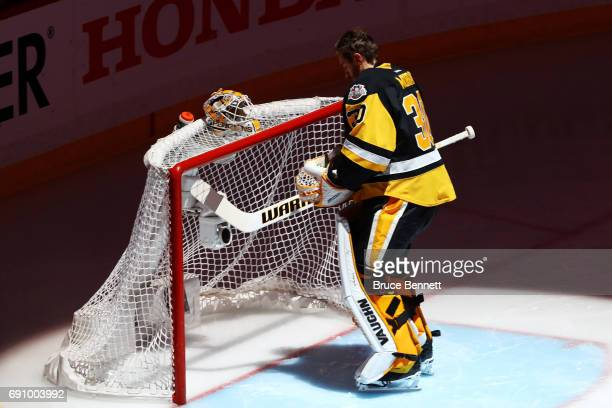 Matt Murray of the Pittsburgh Penguins stands in the crease before the start of the first period in Game Two of the 2017 NHL Stanley Cup Final...