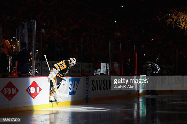 Matt Murray of the Pittsburgh Penguins takes the ice prior to Game One of the 2016 NHL Stanley Cup Final against the San Jose Sharks at Consol Energy...