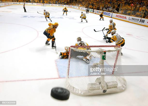 Matt Murray of the Pittsburgh Penguins tends goal against the Nashville Predators in Game Three of the 2017 NHL Stanley Cup Final at the Bridgestone...