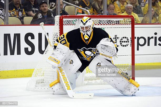 Matt Murray of the Pittsburgh Penguins tends goal against the Tampa Bay Lightning in Game One of the Eastern Conference Final during the 2016 NHL...