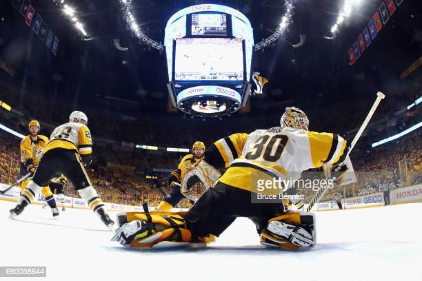 Matt Murray of the Pittsburgh Penguins tends goal during the third period against the Nashville Predators in Game Three of the 2017 NHL Stanley Cup...