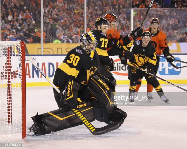 Matt Murray of the Pittsburgh Penguins tends net against the Philadelphia Flyers during the second period during the 2019 Coors Light NHL Stadium...