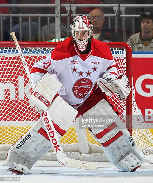 Matt Murray of the Sault Ste Marie Greyhounds watches for a shot in an OHL game against the London Knights on November 11 2012 at the Budweiser...