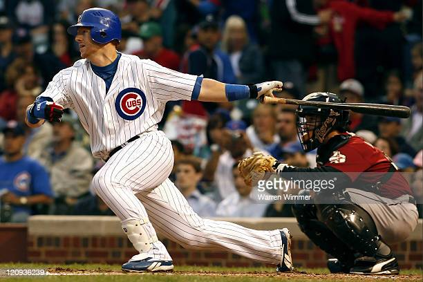Matt Murton, Chicago Cub, left fielder, batting during a night game at Wrigley Field, Chicago, Illinois USA, June 14, 2006. The Houston Astros over...