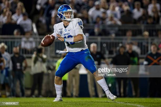 Matt Myers of the Buffalo Bulls looks to pass against the Penn State Nittany Lions during the second half at Beaver Stadium on September 07 2019 in...