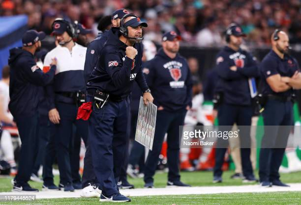 Matt Nagy, Head Coach of Chicago Bears reacts during the game between Chicago Bears and Oakland Raiders at Tottenham Hotspur Stadium on October 06,...