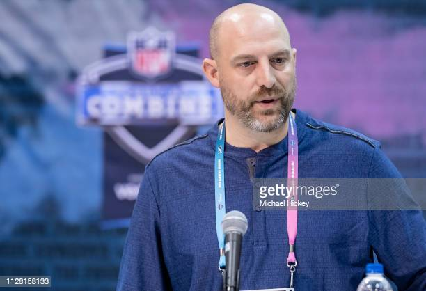 Matt Nagy head coach of the Chicago Bears is seen at the 2019 NFL Combine at Lucas Oil Stadium on February 28 2019 in Indianapolis Indiana