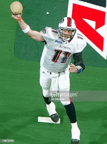 Matt Nagy of the Columbus Destroyers throws a pass against the New York Dragons during their Arena Football League game on June 23 2007 at Nassau...