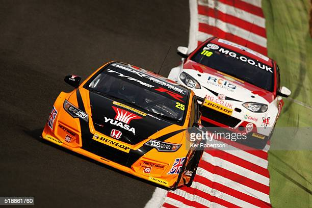 Matt Neal of Halfords Yuasa Honda drives during race one of the Dunlop MSA British Touring Car Championship at Brands Hatch on April 3 2016 in...