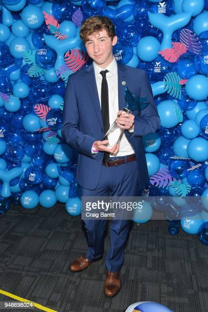 Matt Nelson of We Rate Dogs poses with the award for Best Animal during the 10th Annual Shorty Awards at PlayStation Theater on April 15 2018 in New...